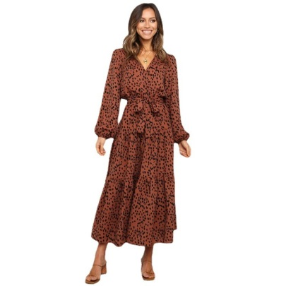 Women's Long-sleeved Lace-up Leopard Print Pleated Dress Nihaostyles Clothing Wholesale NSXPF72462