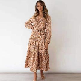 Women's V-neck Long-sleeved Elastic Waist Tie Pleated Print Dress Nihaostyles Clothing Wholesale NSXPF72463