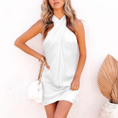 Women's Cross Backless Sexy Halter Suspender Dress Nihaostyles Clothing Wholesale NSXPF72470