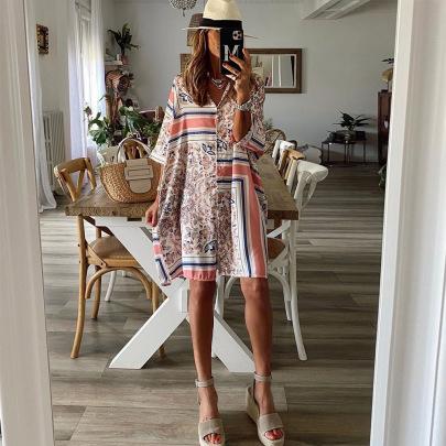 Women's Loose Geometric Pattern Three-quarter Sleeve Dress Nihaostyles Clothing Wholesale NSXPF72472