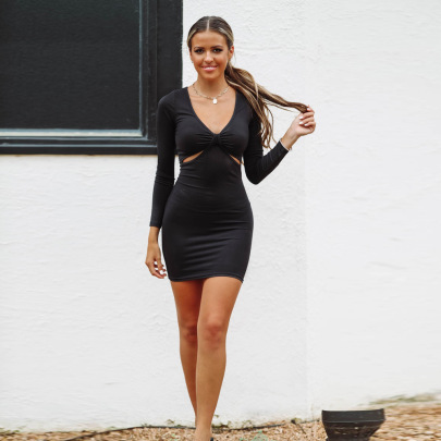Women's Slim New V-neck Dress Nihaostyles Clothing Wholesale NSXPF72473