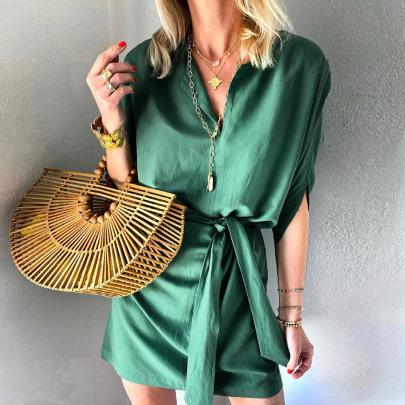 Women's Solid Color Loose V-neck Lace Dress Nihaostyles Clothing Wholesale NSXPF72489