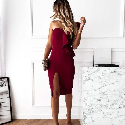 Women's Slim Elastic Slant Collar Ruffled Sleeve Dress Nihaostyles Clothing Wholesale NSXPF72490