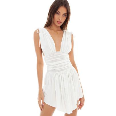 Women's V-neck Slim Backless Drawstring Vest Dress Nihaostyles Clothing Wholesale NSXPF72491