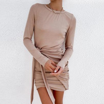 Women's Stretch Shrink Slim Fit Belt Long-sleeved Dress Nihaostyles Clothing Wholesale NSXPF72492