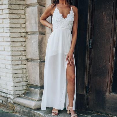Women's Lace Halter Camisole Dress Nihaostyles Clothing Wholesale NSXPF72494