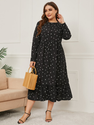Women's Printing Long-sleeved Round Neck Dress Nihaostyles Clothing Wholesale NSCX72502