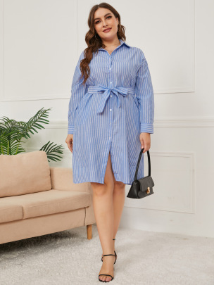 Women's Stripe-breasted Long-sleeved Shirt Dress Nihaostyles Clothing Wholesale NSCX72503