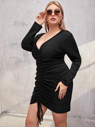 Women's New Style Waist V-neck Long-sleeved Dress Nihaostyles Clothing Wholesale NSCX72505