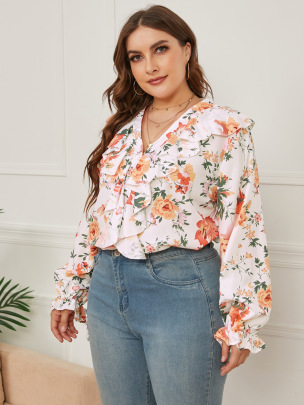 Women's Printed Ruffled Loose V-neck Long-sleeved Shirt Nihaostyles Clothing Wholesale NSCX72506