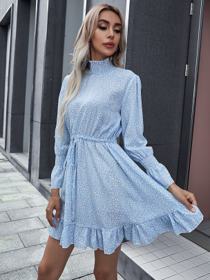 Women's High-neck Waist Printed Dress Nihaostyles Clothing Wholesale NSCX72508