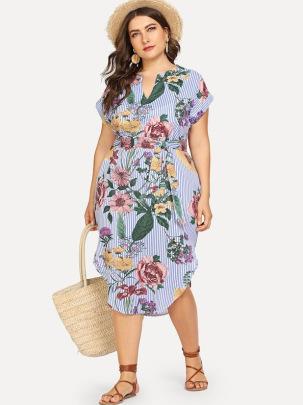 Women's Striped Print Thin V-neck Dress Nihaostyles Clothing Wholesale NSCX72509