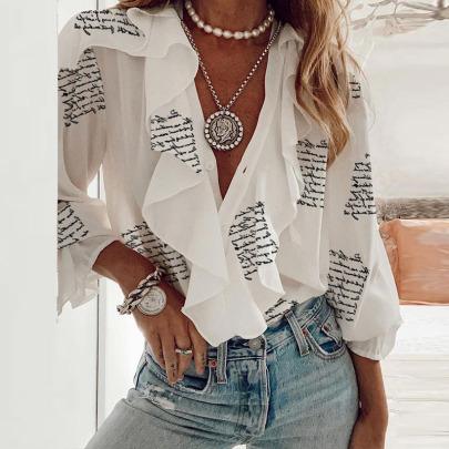 Women's Stitching Ruffled Long-sleeved V-neck Shirt Nihaostyles Clothing Wholesale NSCX72510