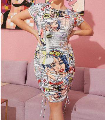 Women's Round Neck Slim Drawstring Newspaper Printing Dress Nihaostyles Clothing Wholesale NSCX72512
