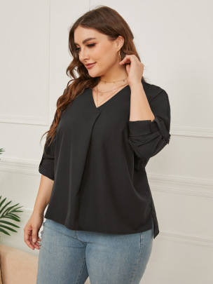 Women's Loose V-neck Solid Color Long-sleeved Shirt Nihaostyles Clothing Wholesale NSCX72513