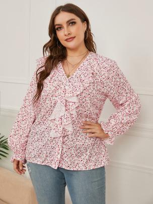 Women's V-neck Printing Loose Long-sleeved Shirt Nihaostyles Clothing Wholesale NSCX72514