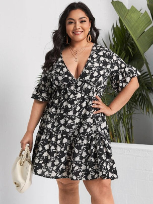 Women's V-neck Printed Short-sleeved Dress Nihaostyles Clothing Wholesale NSCX72518