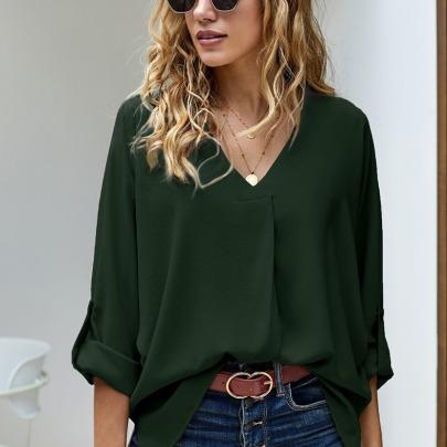 Women's Loose V-neck Long-sleeved Shirt Nihaostyles Clothing Wholesale NSCX72520