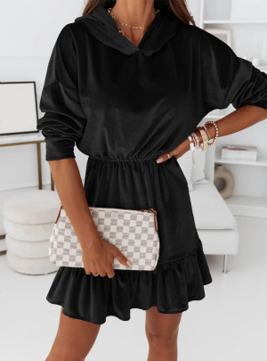 Women's Velvet Casual Mid-length Hooded Dress Nihaostyles Clothing Wholesale NSCX72522