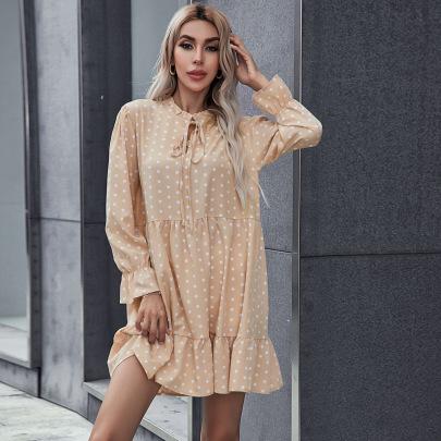 Women's Long-sleeved Loose Polka-dot Tie Dress Nihaostyles Clothing Wholesale NSCX72525