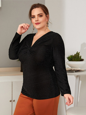 Women's Plus Size V-neck Slim Bright Silk Long-sleeved Top Nihaostyles Clothing Wholesale NSCX72530