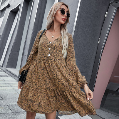 Women's Long-sleeved V-neck Loose Printed Dress Nihaostyles Clothing Wholesale NSCX72533