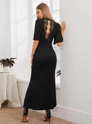 Women's Waist Backless Short-sleeved Lace Stitching Dress Nihaostyles Clothing Wholesale NSCX72534