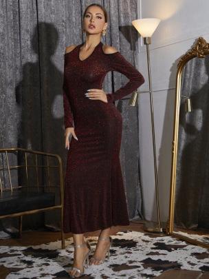 Women's Strapless Slim Long-sleeved Bright Silk Dress Nihaostyles Clothing Wholesale NSCX72535