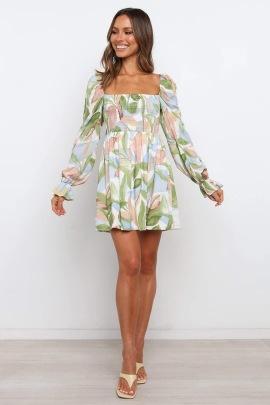Printed Square Neck Waist Long Sleeve Dress Nihaostyles Wholesale Clothing Vendor NSCX72539