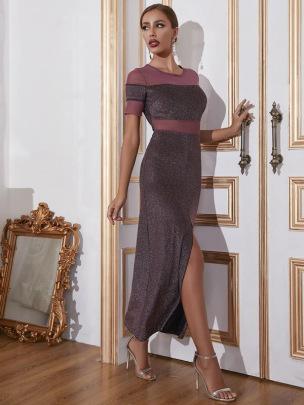 Sexy Slim Slit Short-sleeved Dress Nihaostyles Wholesale Clothing Vendor NSCX72543