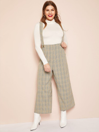 Plus Size Checked Suspender Trousers Nihaostyles Wholesale Clothing Vendor NSCX72544