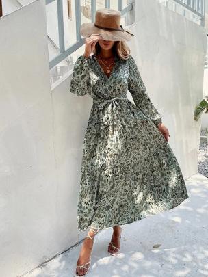 V-neck Printed Waist Dress Nihaostyles Wholesale Clothing Vendor NSCX72547