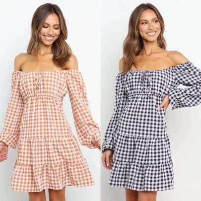 Plaid One-shoulder Long-sleeved Dress Nihaostyles Wholesale Clothing Vendor NSCX72548