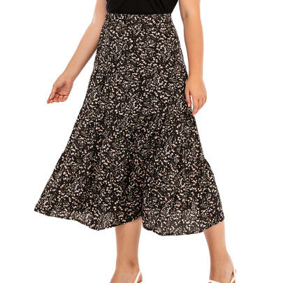 Plus Size Floral Mid-length Loose-fitting Slimming Skirts Nihaostyles Wholesale Clothing Vendor NSCX72549