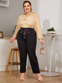 New Plus Size Waist Tie Trousers Nihaostyles Wholesale Clothing Vendor NSCX72557
