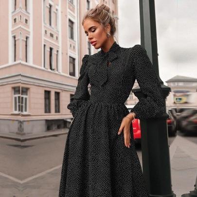 New Tie-up Long-sleeved Polka Dot Dress Nihaostyles Wholesale Clothing Vendor NSCX72558