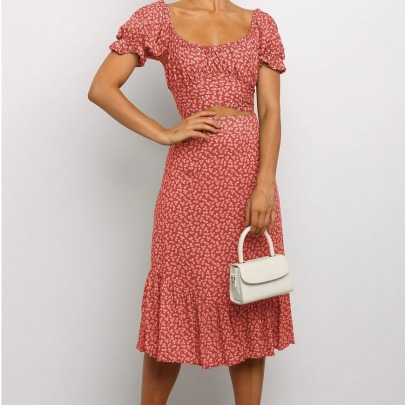 Plus Sizepleated Ruffle Skirt Set Nihaostyles Wholesale Clothing Vendor NSCX72560