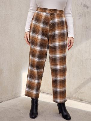 Plus Size High Waist Plaid Trousers Nihaostyles Wholesale Clothing Vendor NSCX72562