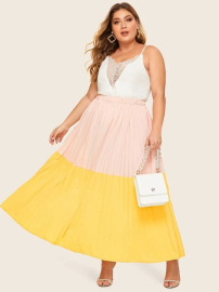 New Plus Size Color Matching Pleated Elastic Waist Skirt Nihaostyles Wholesale Clothing Vendor NSCX72563