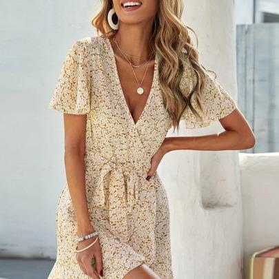 Slim V-neck Printed Short Sleeve Dress Nihaostyles Wholesale Clothing Vendor NSCX72568