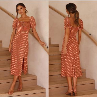 New Short-sleeved Chest Lace-up Hem Slit Dress Nihaostyles Wholesale Clothing Vendor NSCX72579