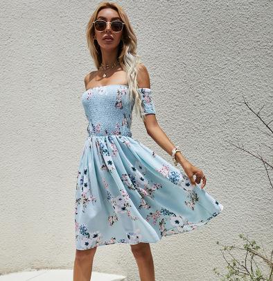 One-shoulder Waist Printed Dress Nihaostyles Wholesale Clothing Vendor NSCX72583