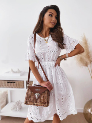 White Embroidered Round Neck Hollow Short Sleeve Dress Nihaostyles Wholesale Clothing Vendor NSCX72585