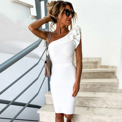 Women's Slim Stretch Slant Collar Ruffle Sleeve Dress Nihaostyles Clothing Wholesale NSKL72596