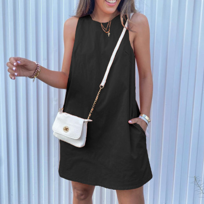 Women's Loose Casual Pocket Round Neck Solid Color Sleeveless Dress Nihaostyles Clothing Wholesale NSKL72600