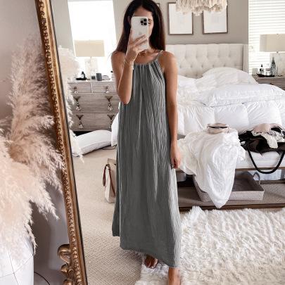 Women's Halter Neck Sling Big Swing Dress Nihaostyles Clothing Wholesale NSKL72606