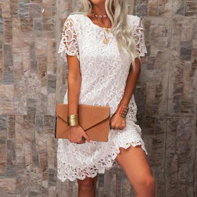 Female Round Neck Lace Short-sleeve Dress Two-piece Suit Nihaostyles Clothing Wholesale NSKL72615