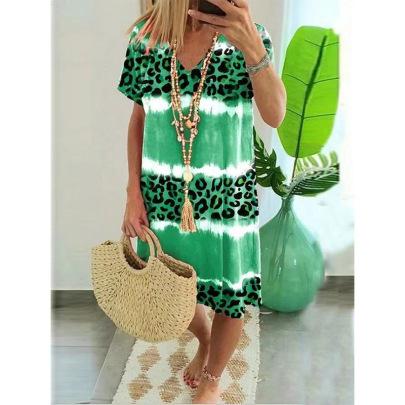 Leopard Print Casual Dress Nihaostyles Wholesale Clothing Vendor NSLZ72622