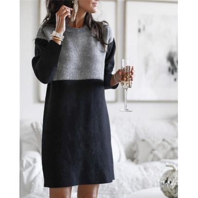 Stitching Loose Long-sleeved Dress Nihaostyles Wholesale Clothing Vendor NSLZ72628