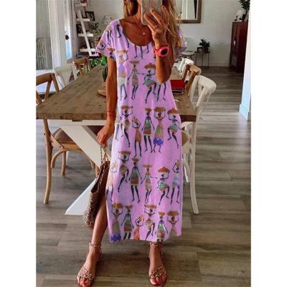 Loose Long Skirt Ethnic Short-sleeved Dress Nihaostyles Wholesale Clothing Vendor NSLZ72632